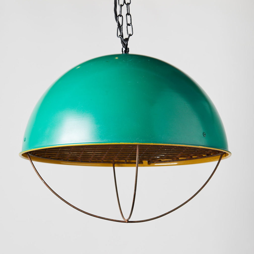 Reclaimed industrial caged pendant light,-128053