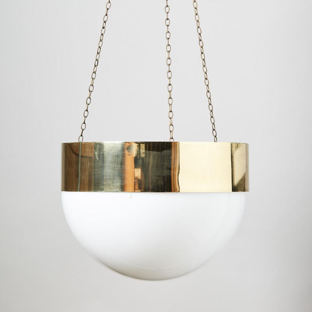 Reclaimed brass hemisphere pendant light,-0