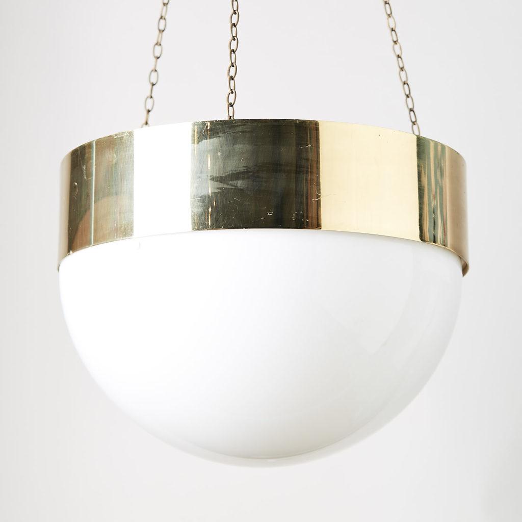 Reclaimed brass hemisphere pendant light,-128049
