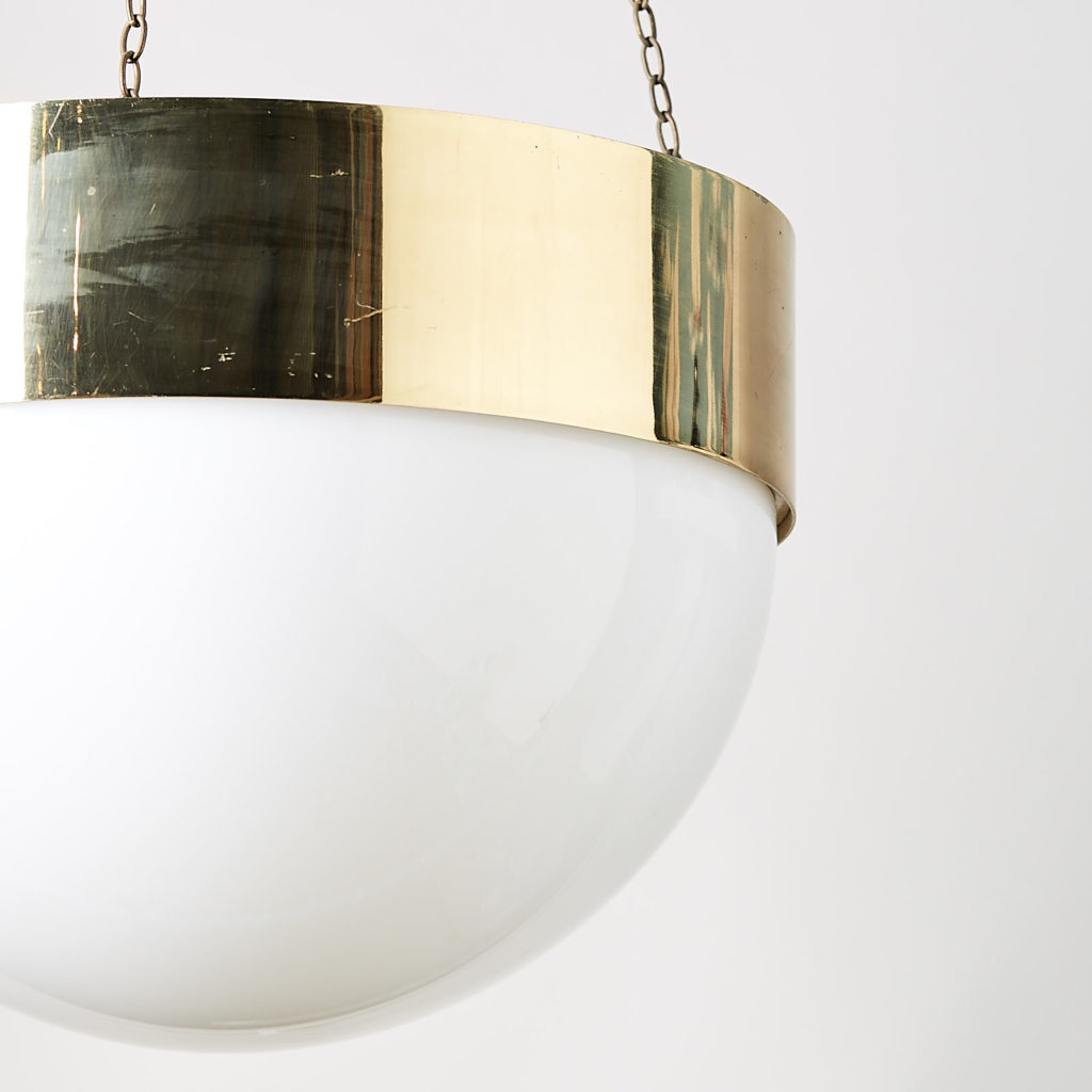 Reclaimed brass hemisphere pendant light,-128050