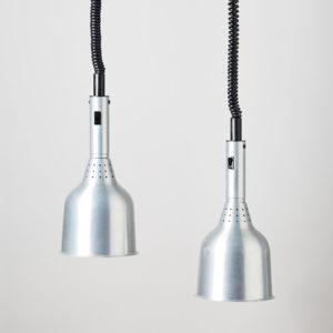 A pair of spun aluminium ceiling lights,-0