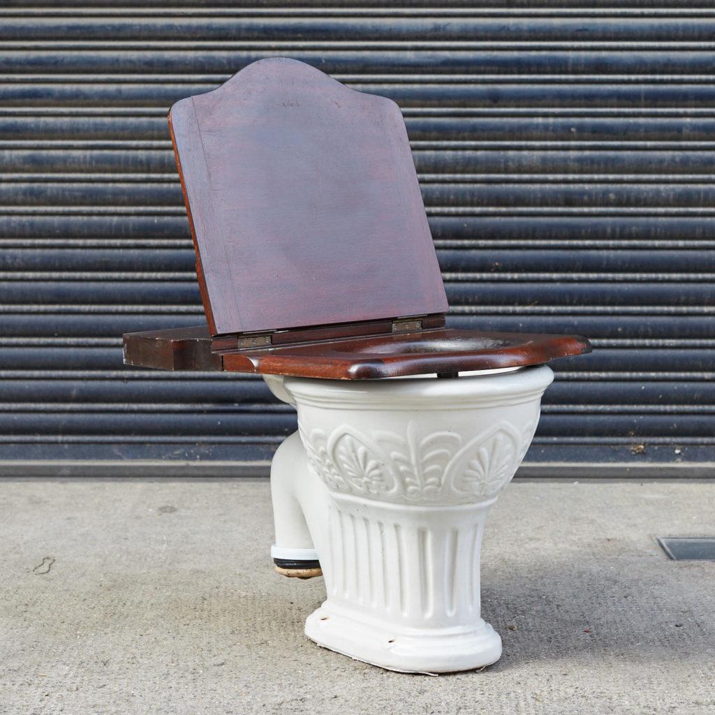 A hinged mahogany lavatory seat, -128342