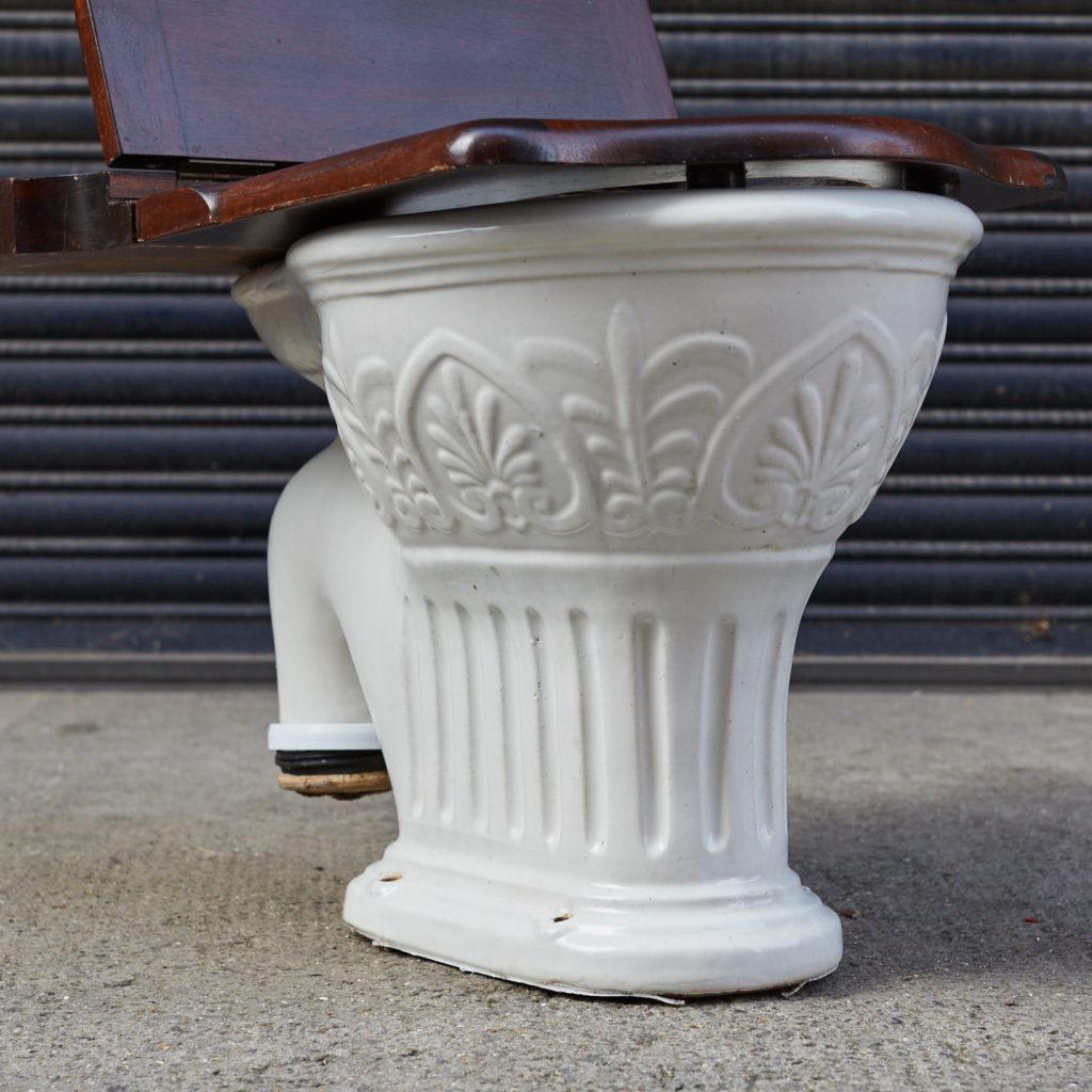 A hinged mahogany lavatory seat, -128341