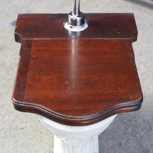A hinged mahogany lavatory seat, -0