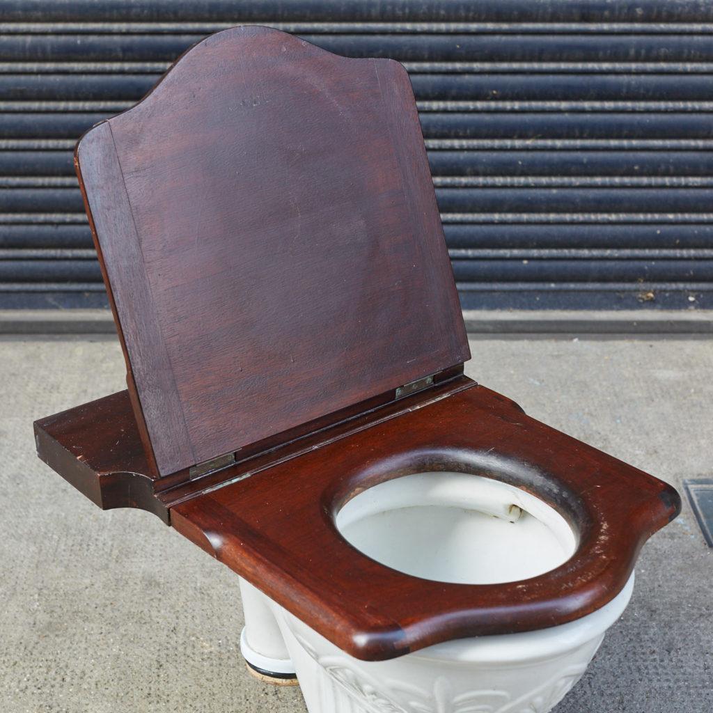 A hinged mahogany lavatory seat, -128348