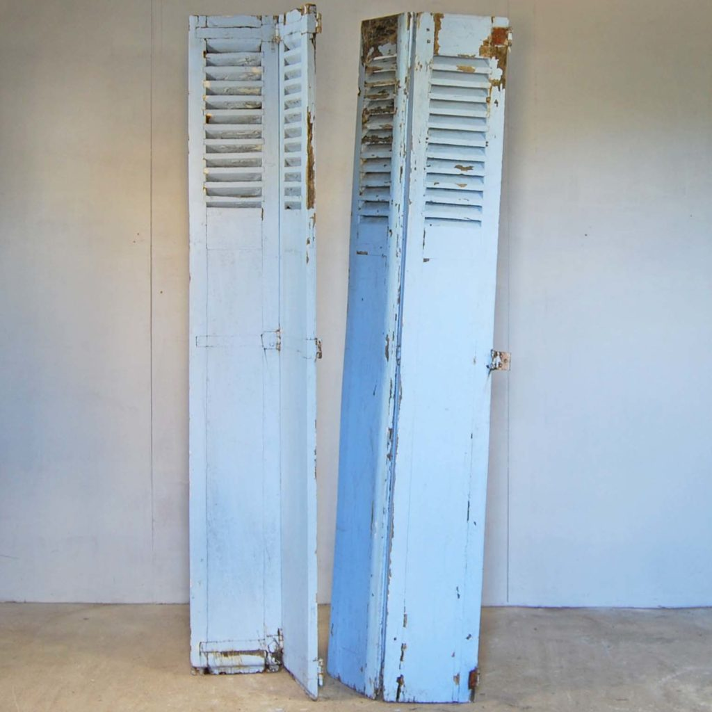 A pair of French painted oak shutters-0