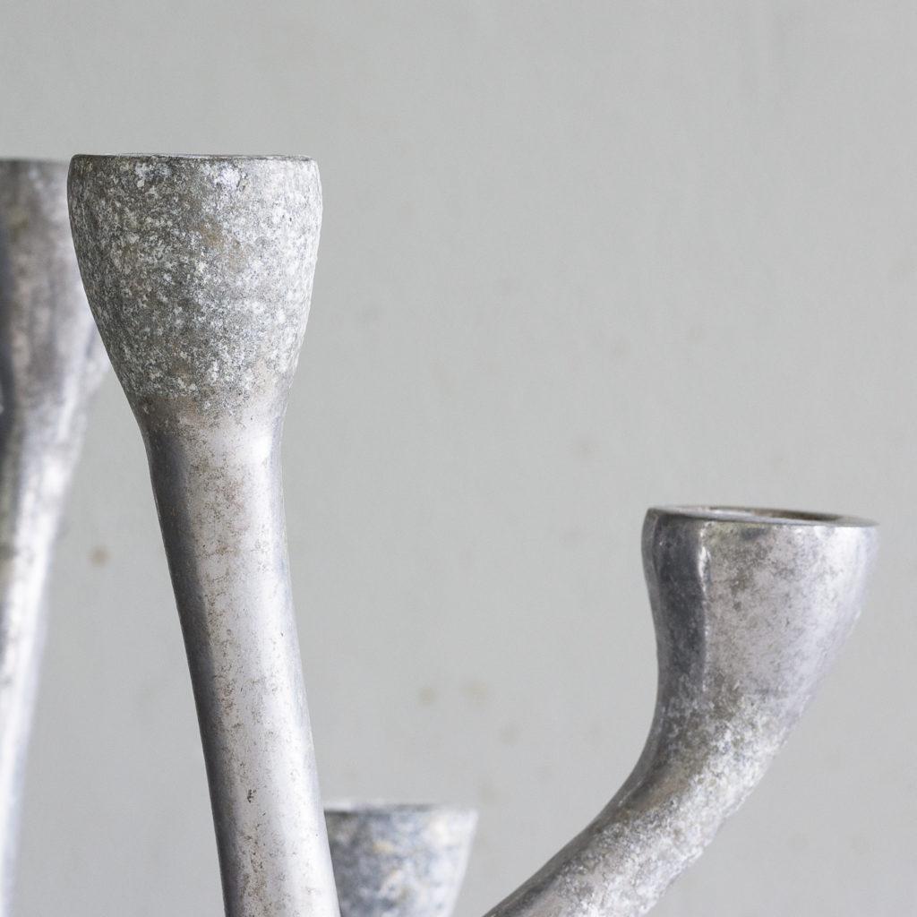 Pair of 1970s cast aluminium candelabra,-128258