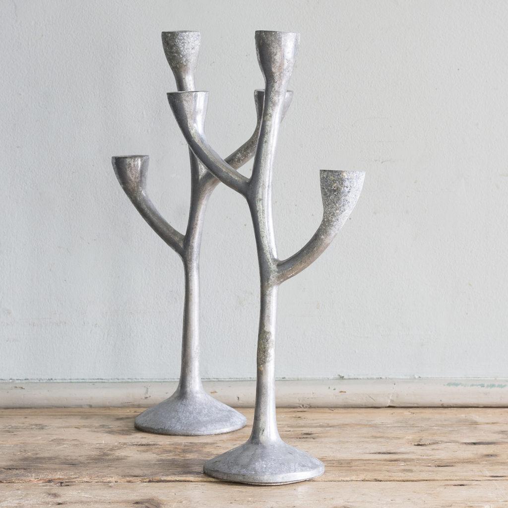 Pair of 1970s cast aluminium candelabra,