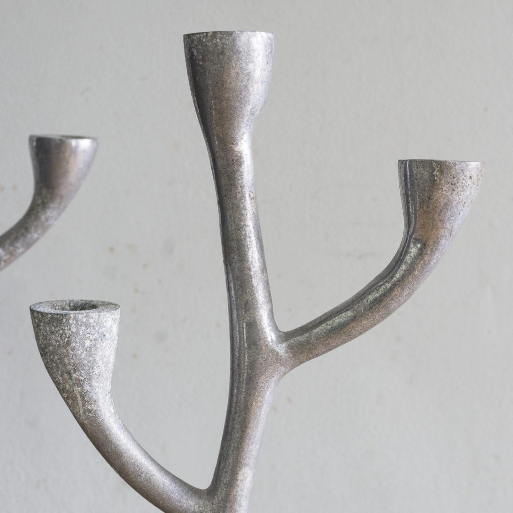 Pair of 1970s cast aluminium candelabra,-128254