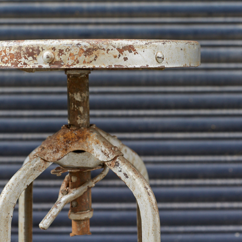 Reclaimed factory stool,-128992