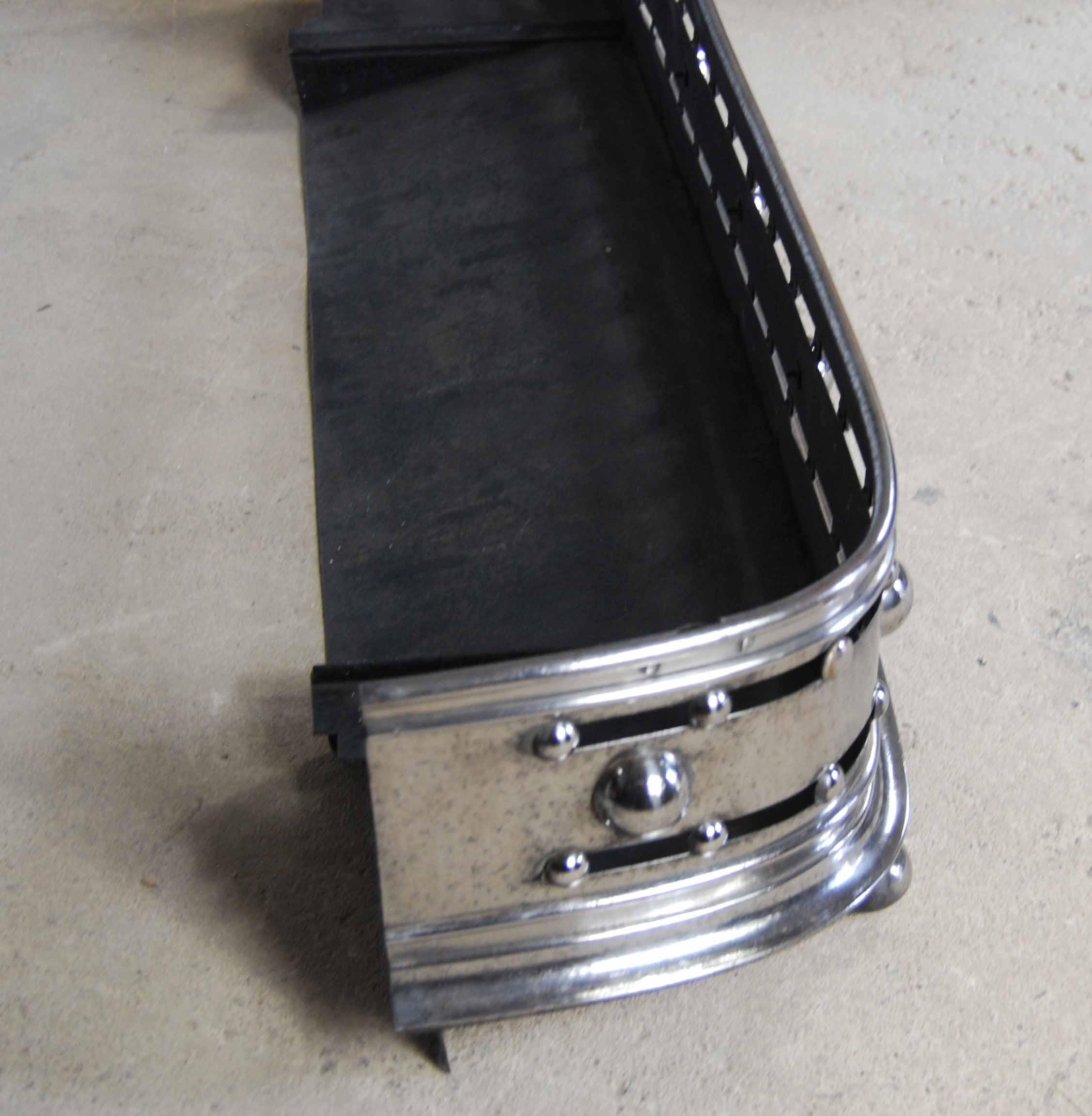 An English steel fireplace fender-128844
