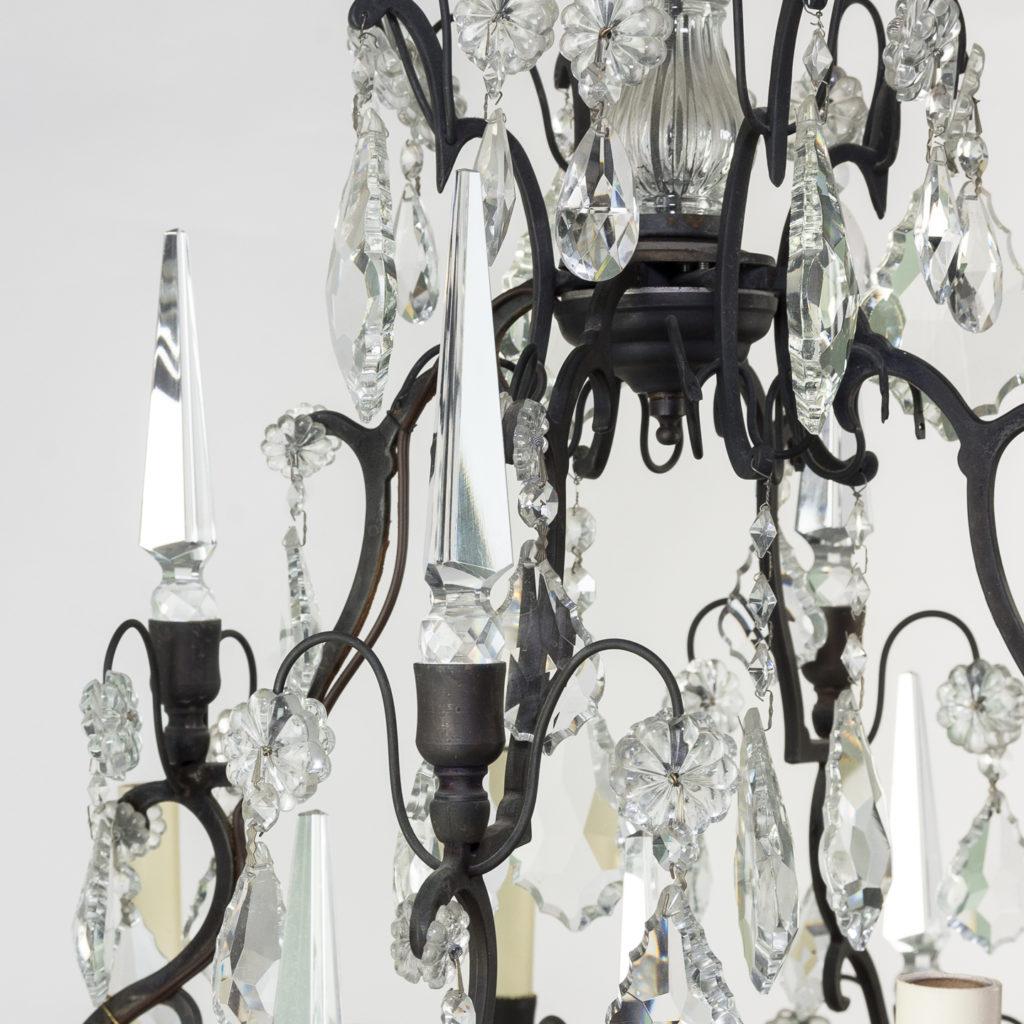 Mid twentieth century glass birdcage chandelier,-129922