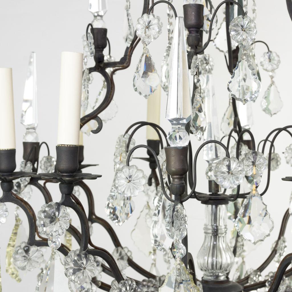 Mid twentieth century glass birdcage chandelier,-129923
