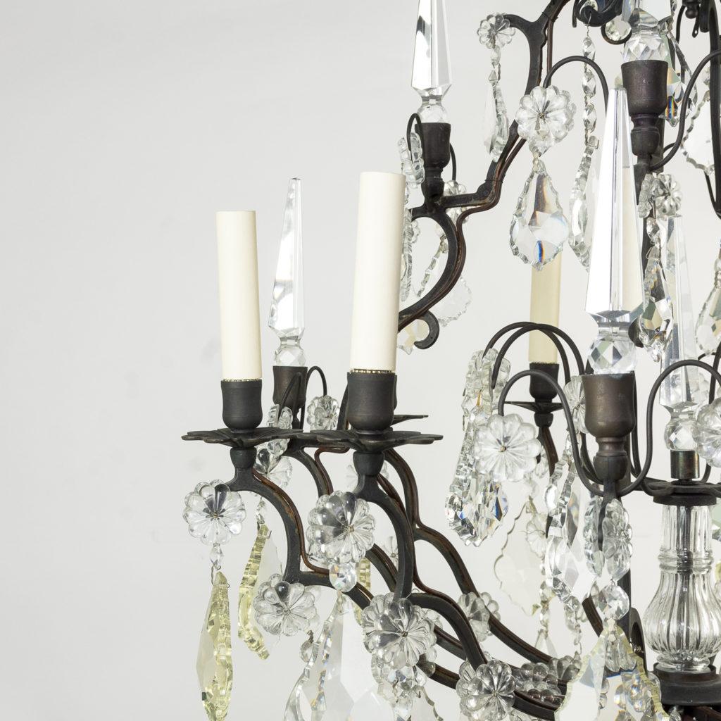 Mid twentieth century glass birdcage chandelier,-129924