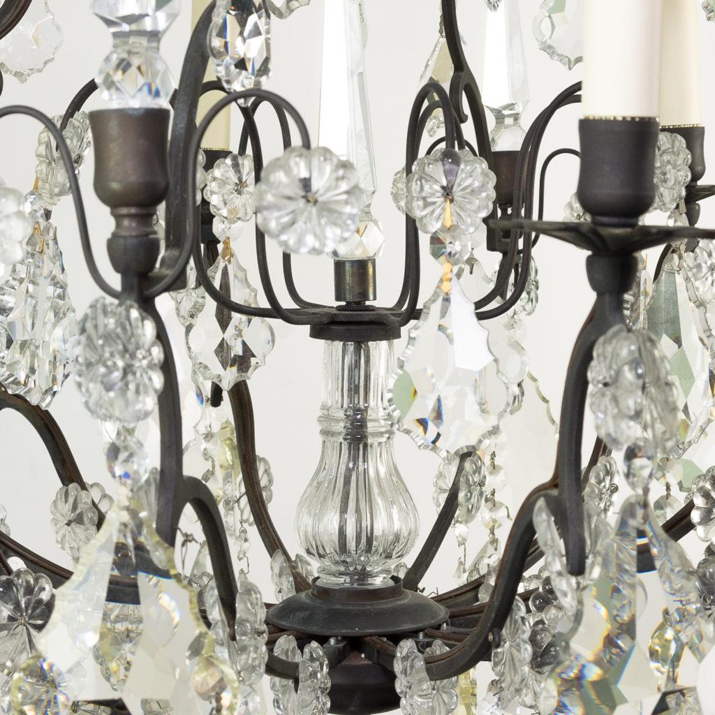 Mid twentieth century glass birdcage chandelier,-129925