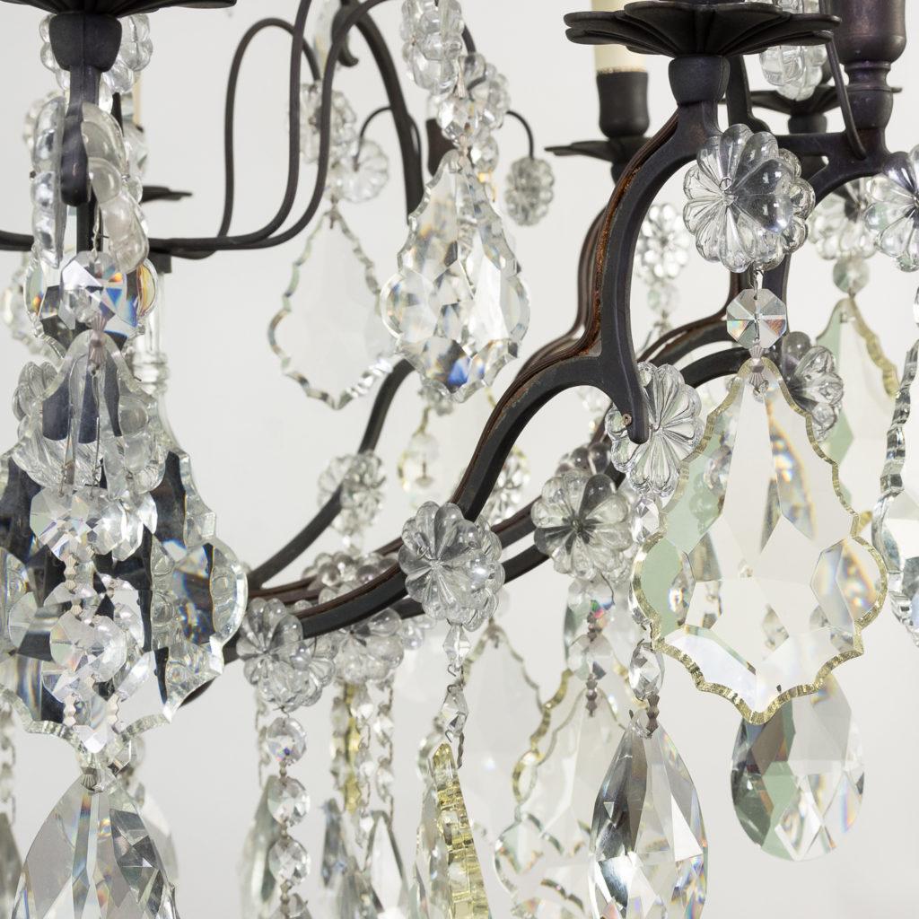 Mid twentieth century glass birdcage chandelier,-129926