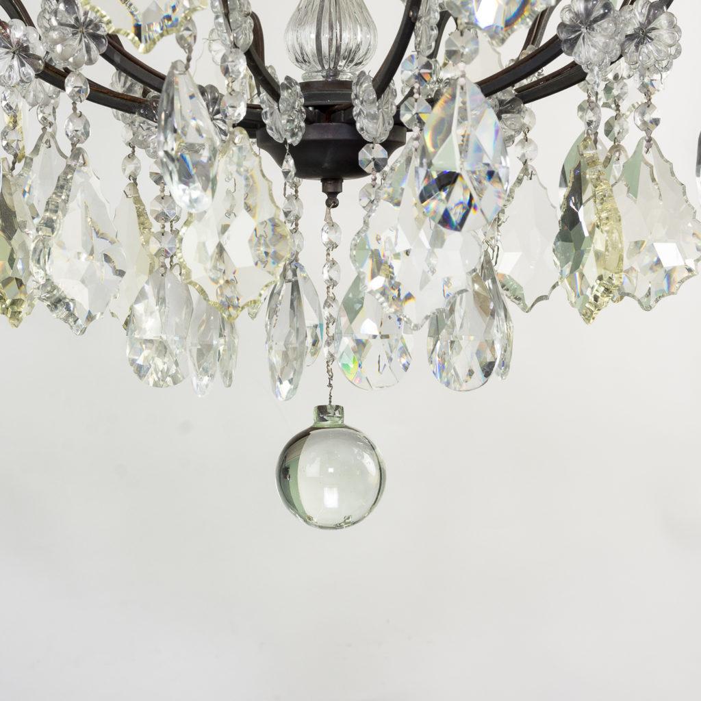 Mid twentieth century glass birdcage chandelier,-129929