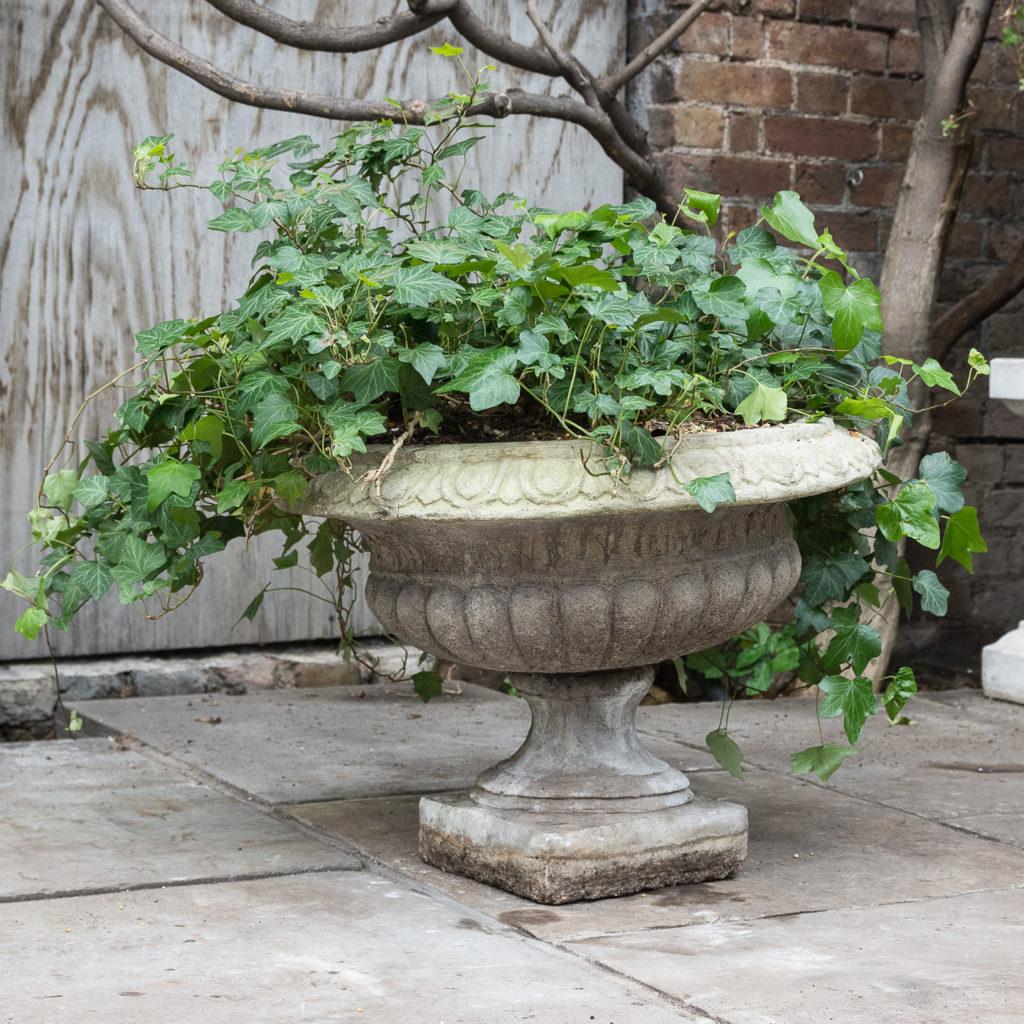 Composition stone tazza urn,-0