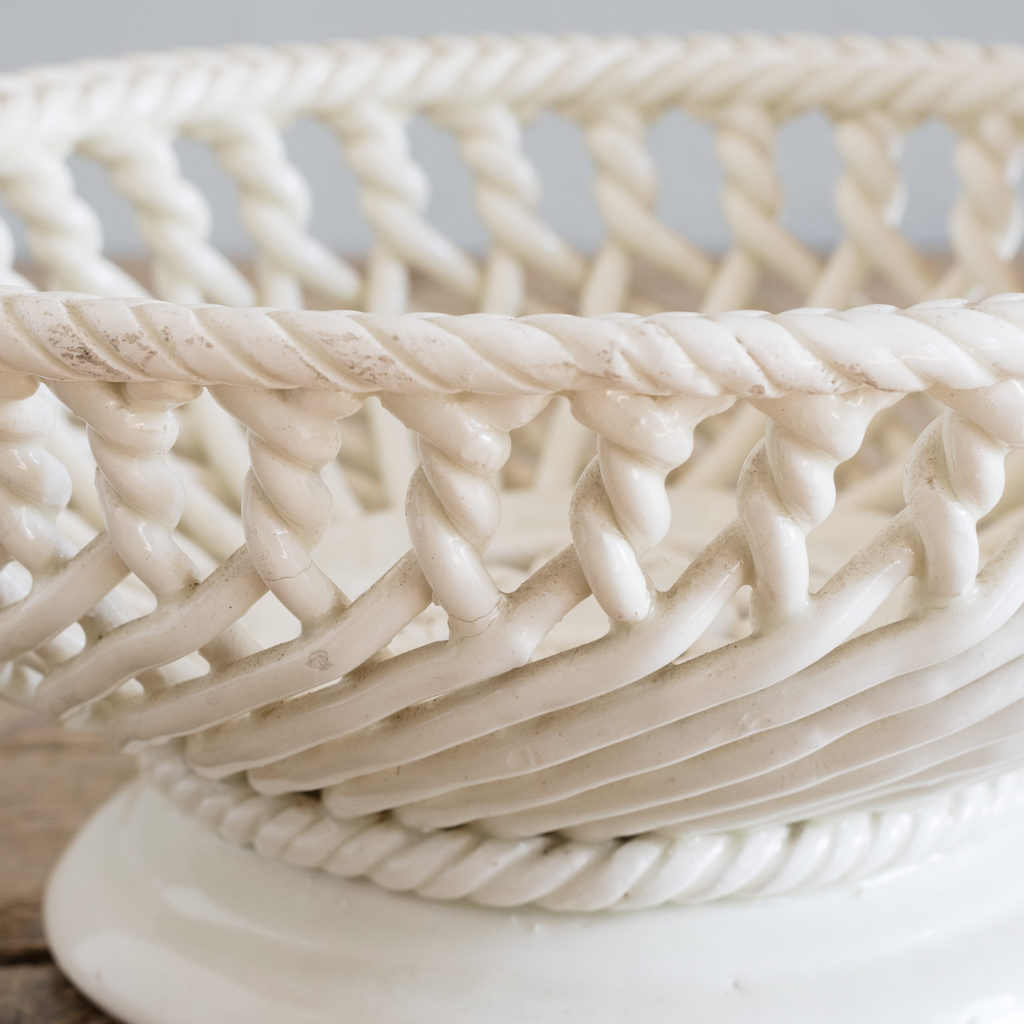 French woven porcelain fruit dish,-130052