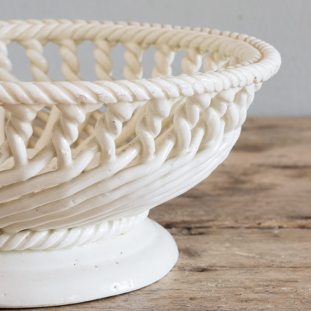 French woven porcelain fruit dish,-130050