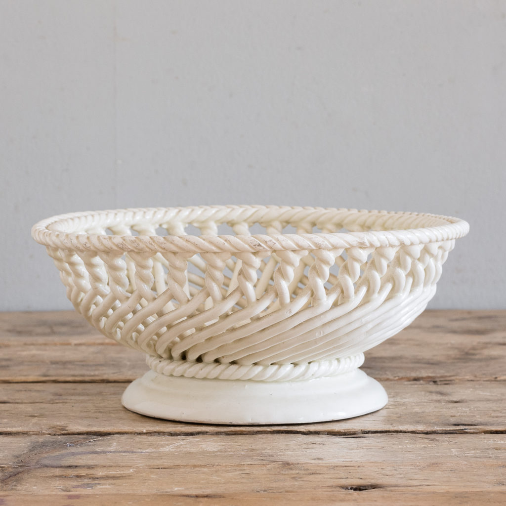 French woven porcelain fruit dish,