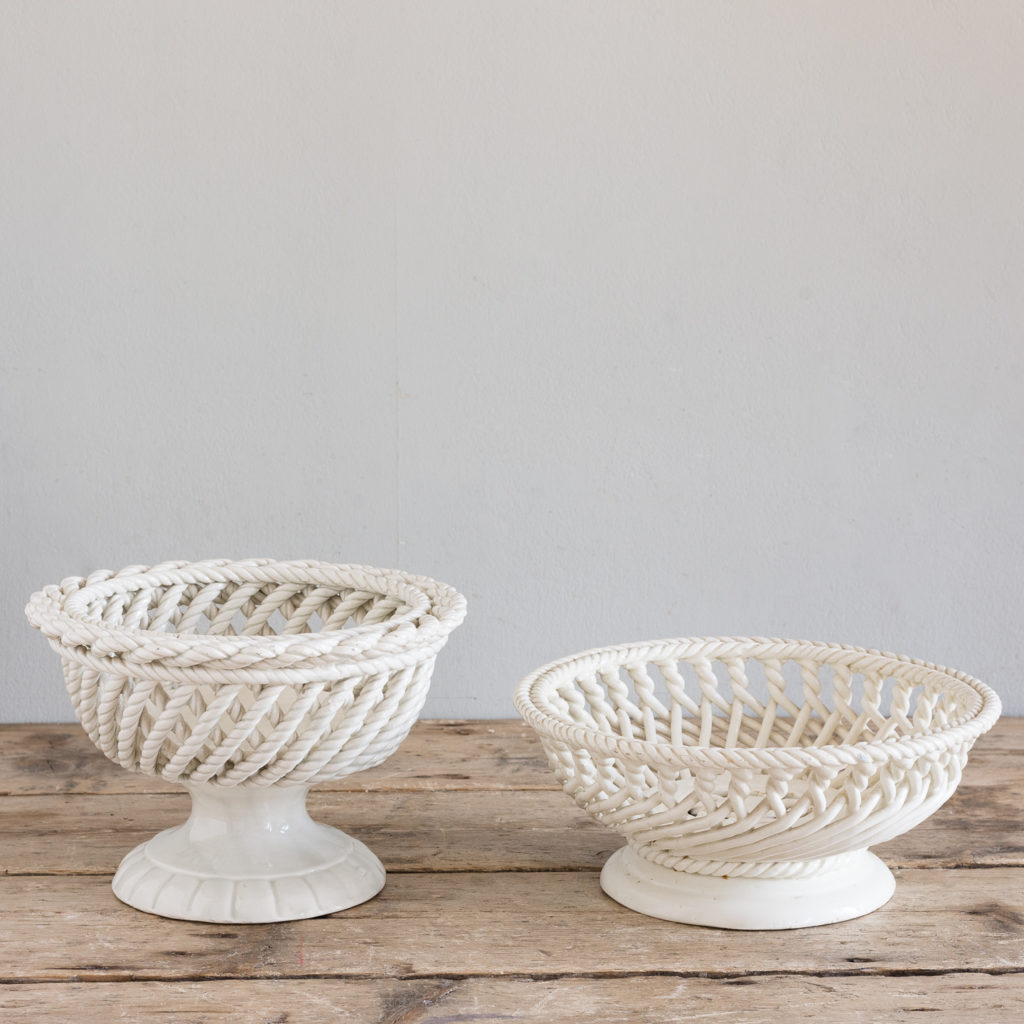 French woven porcelain fruit dish,-130067