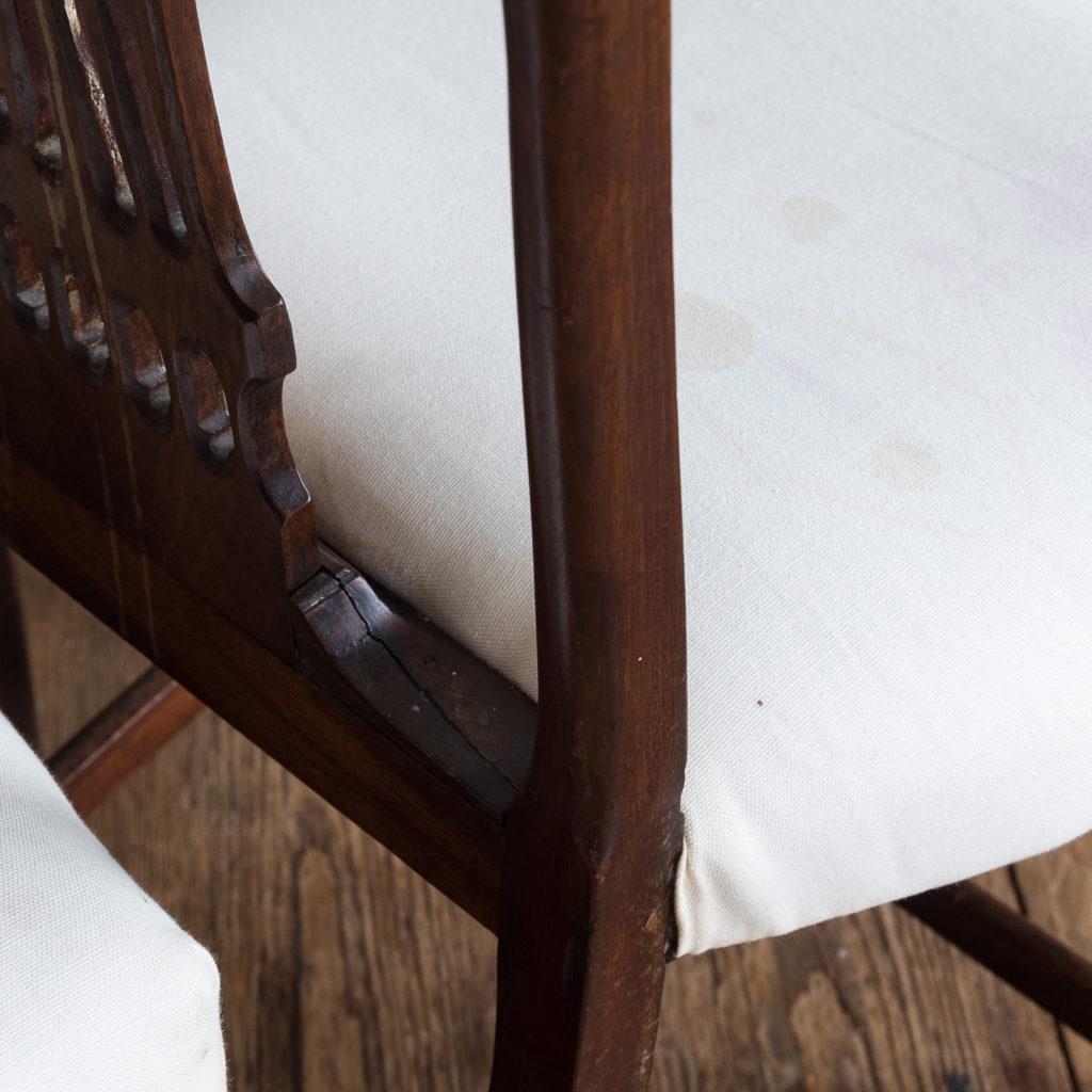 Three George III mahogany dining chairs,-128921