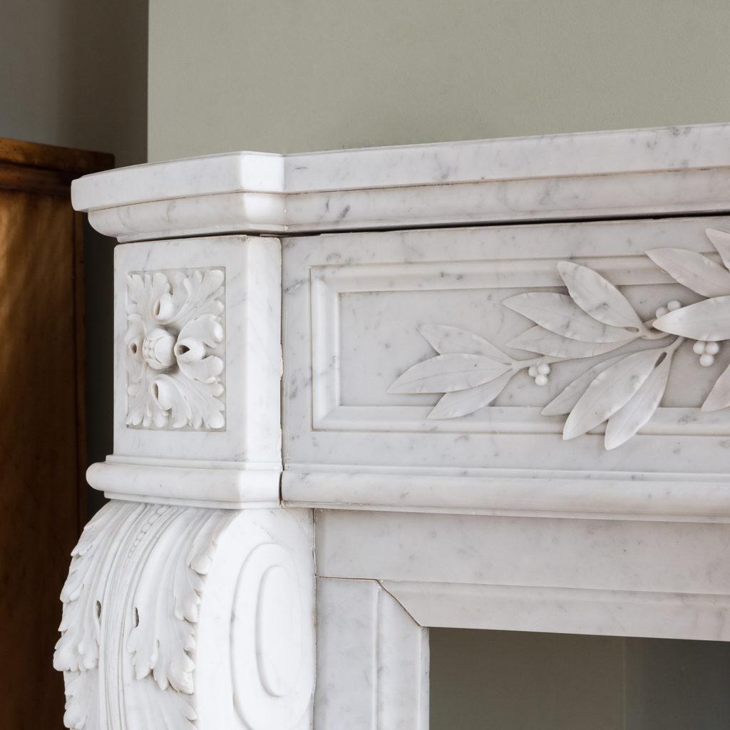 Louis XVI style Carrara marble chimneypiece,-128866