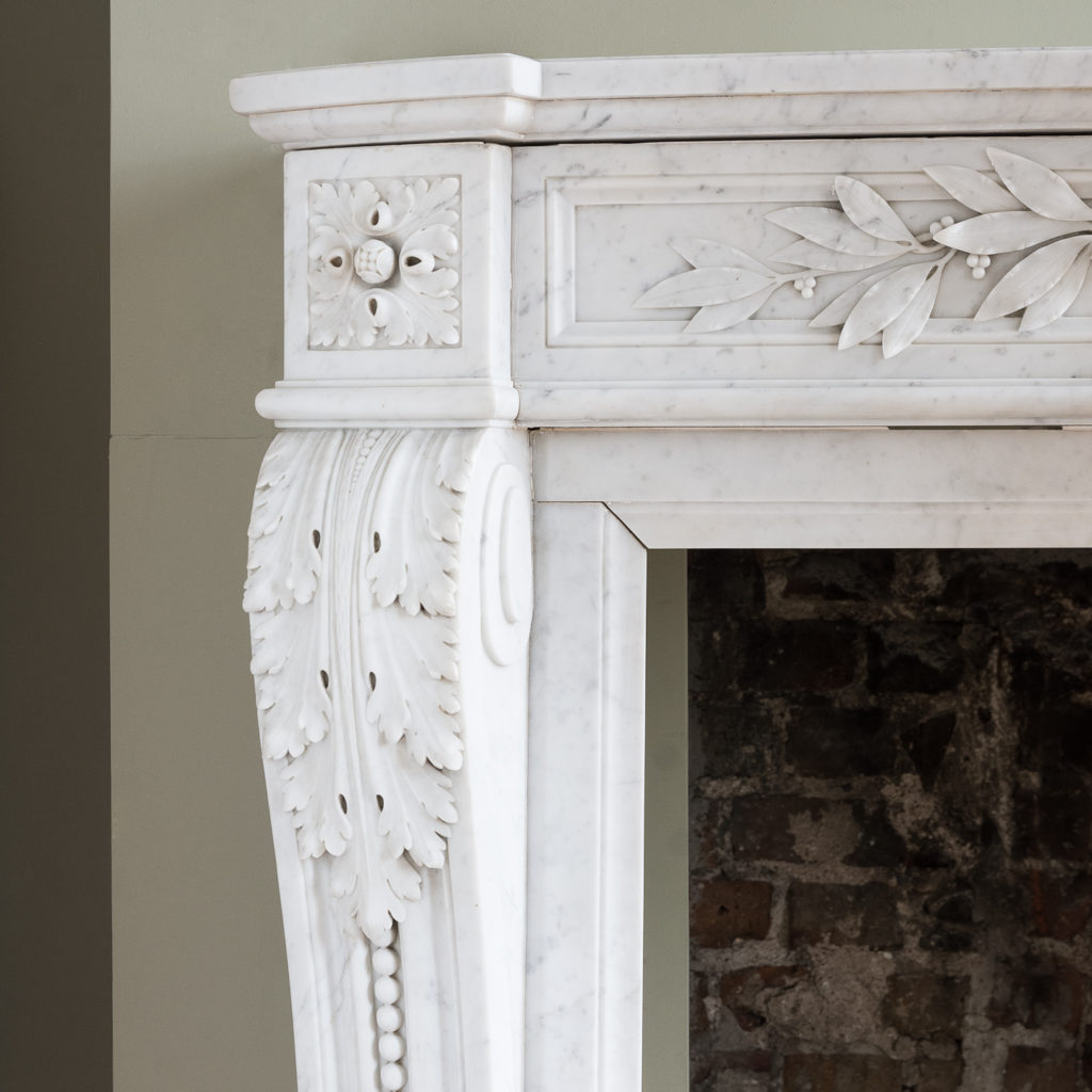 acanthine volute jambs with channel moulded and beaded decoration