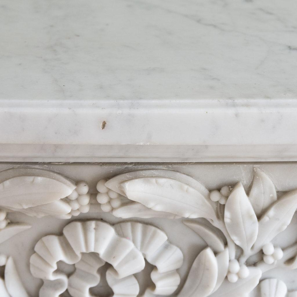Louis XVI style Carrara marble chimneypiece,-128871