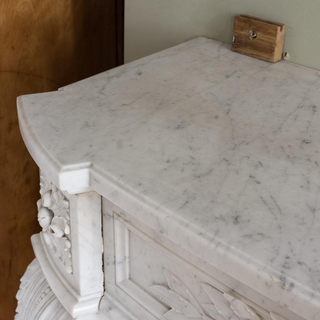 Louis XVI style Carrara marble chimneypiece,-128874