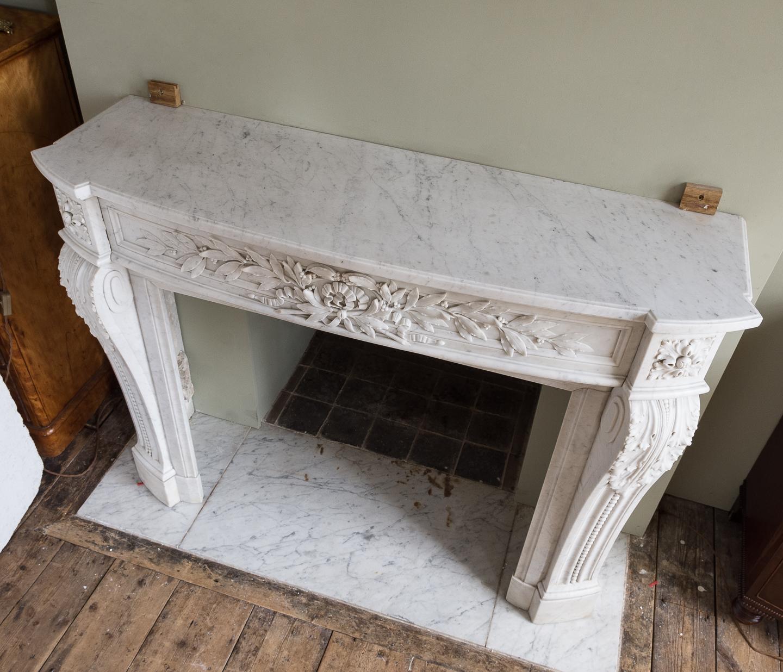 Louis XVI style Carrara marble chimneypiece,-128876