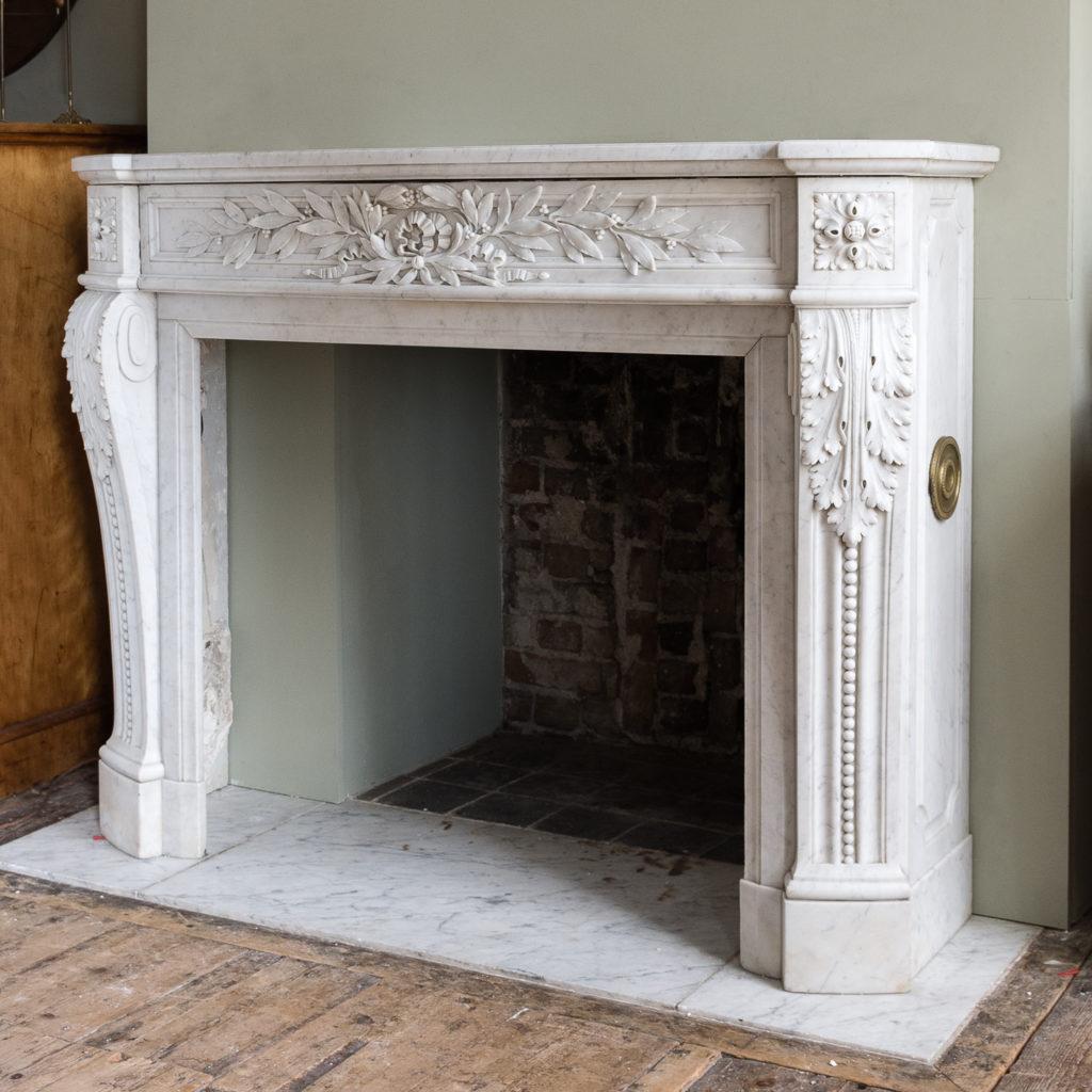 Louis XVI style Carrara marble chimneypiece,-128860