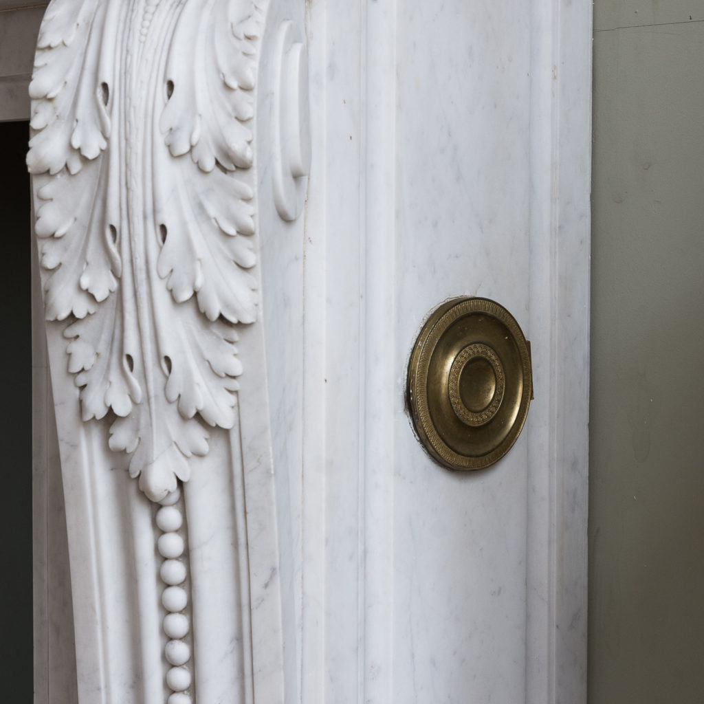 Louis XVI style Carrara marble chimneypiece,-128862