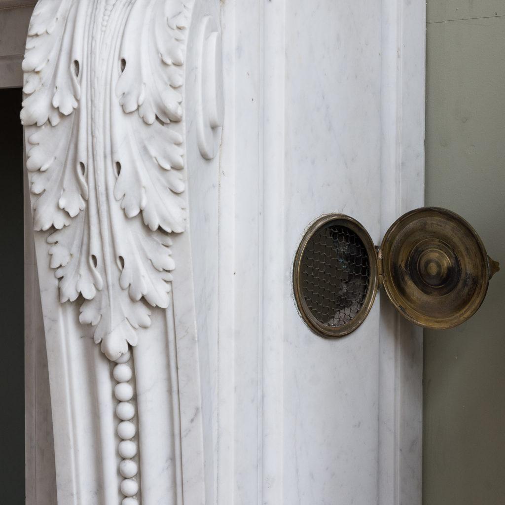 Louis XVI style Carrara marble chimneypiece,-128863