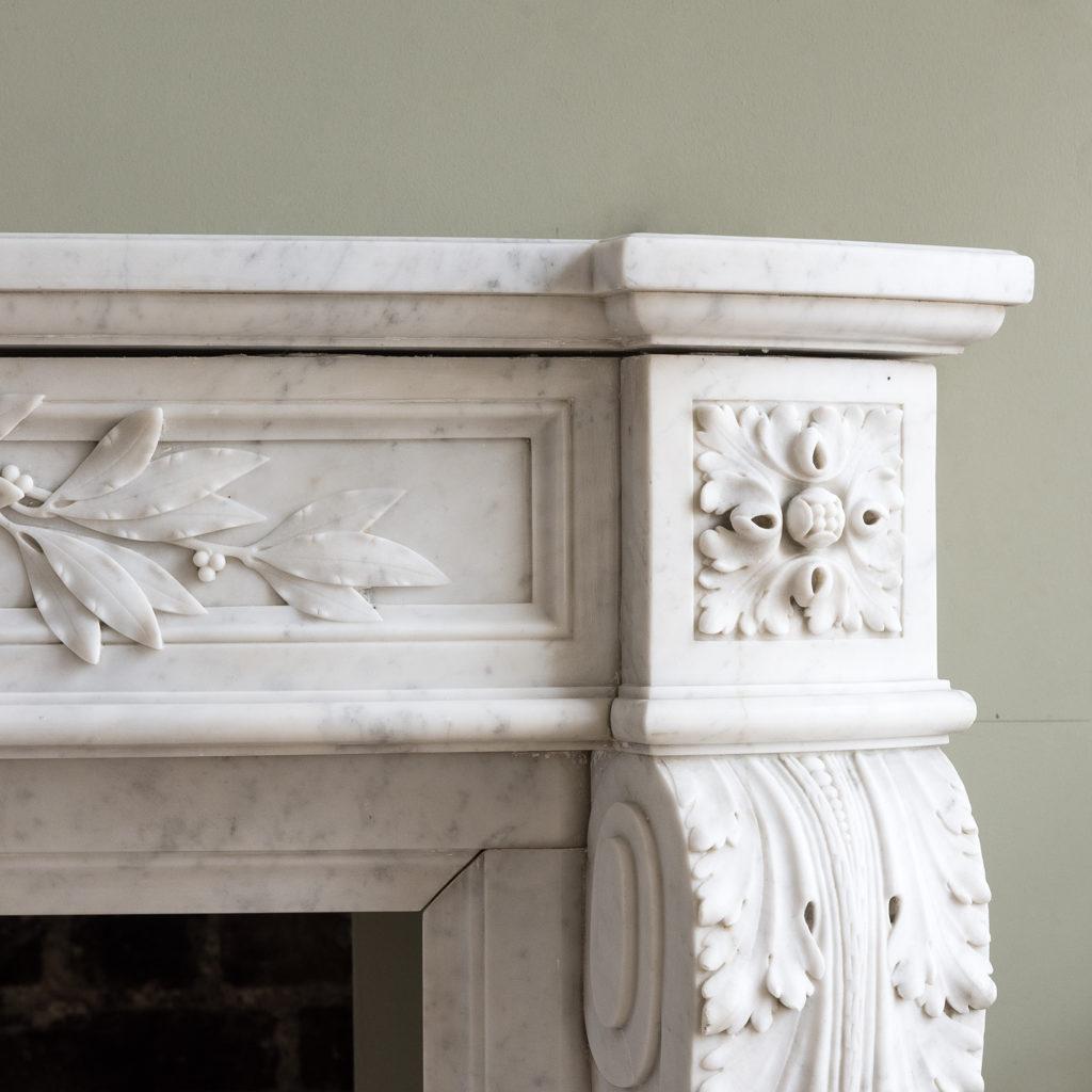 Louis XVI style Carrara marble chimneypiece,-128864