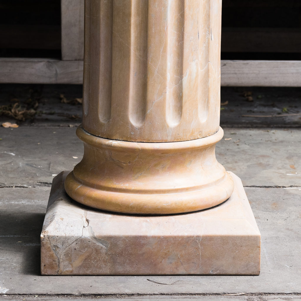 Four Valence yellow marble pedestals, -128956