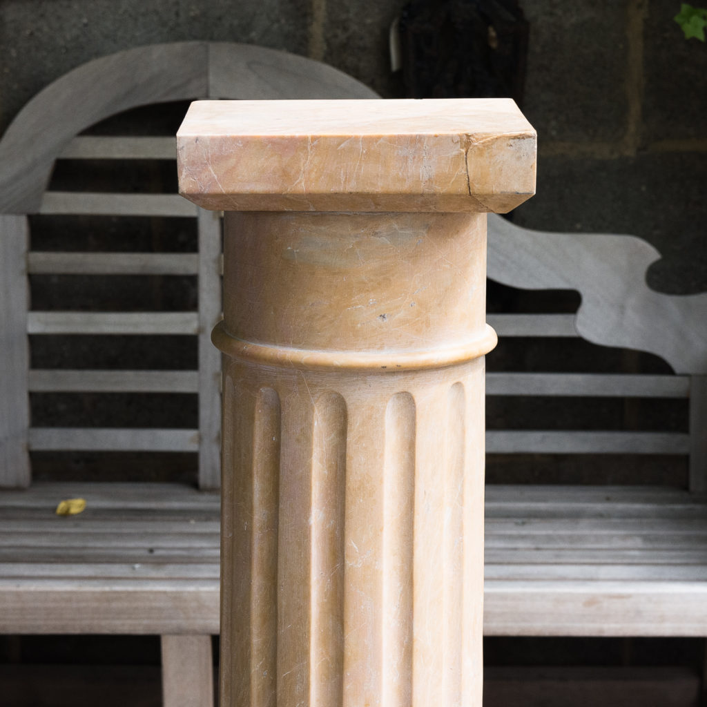 Four Valence yellow marble pedestals, -128958
