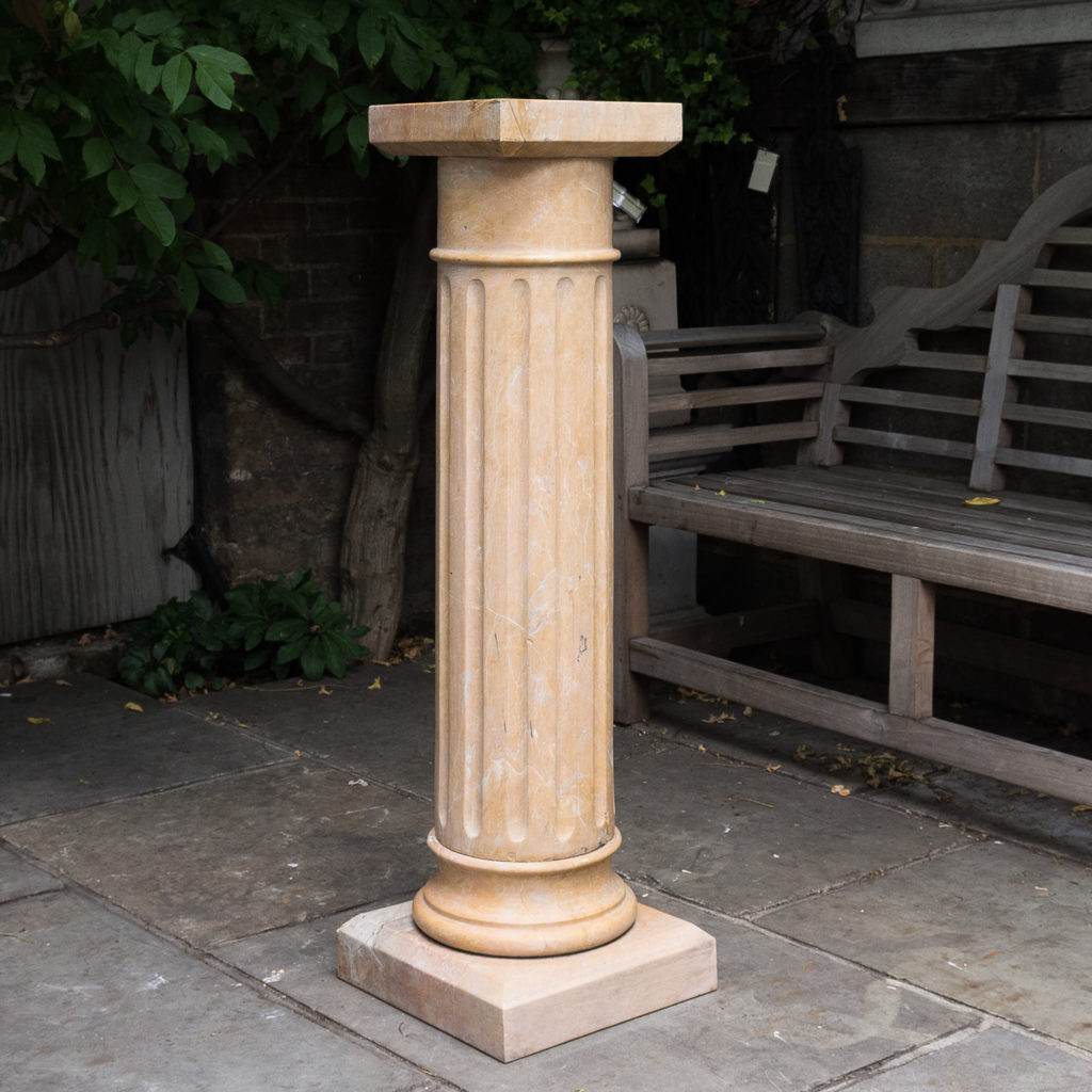 Four Valence yellow marble pedestals, -128951