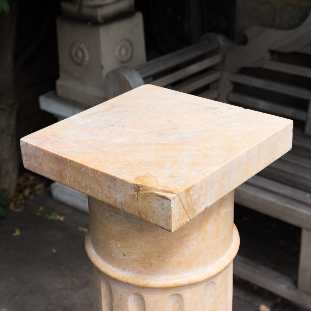 Four Valence yellow marble pedestals, -128953