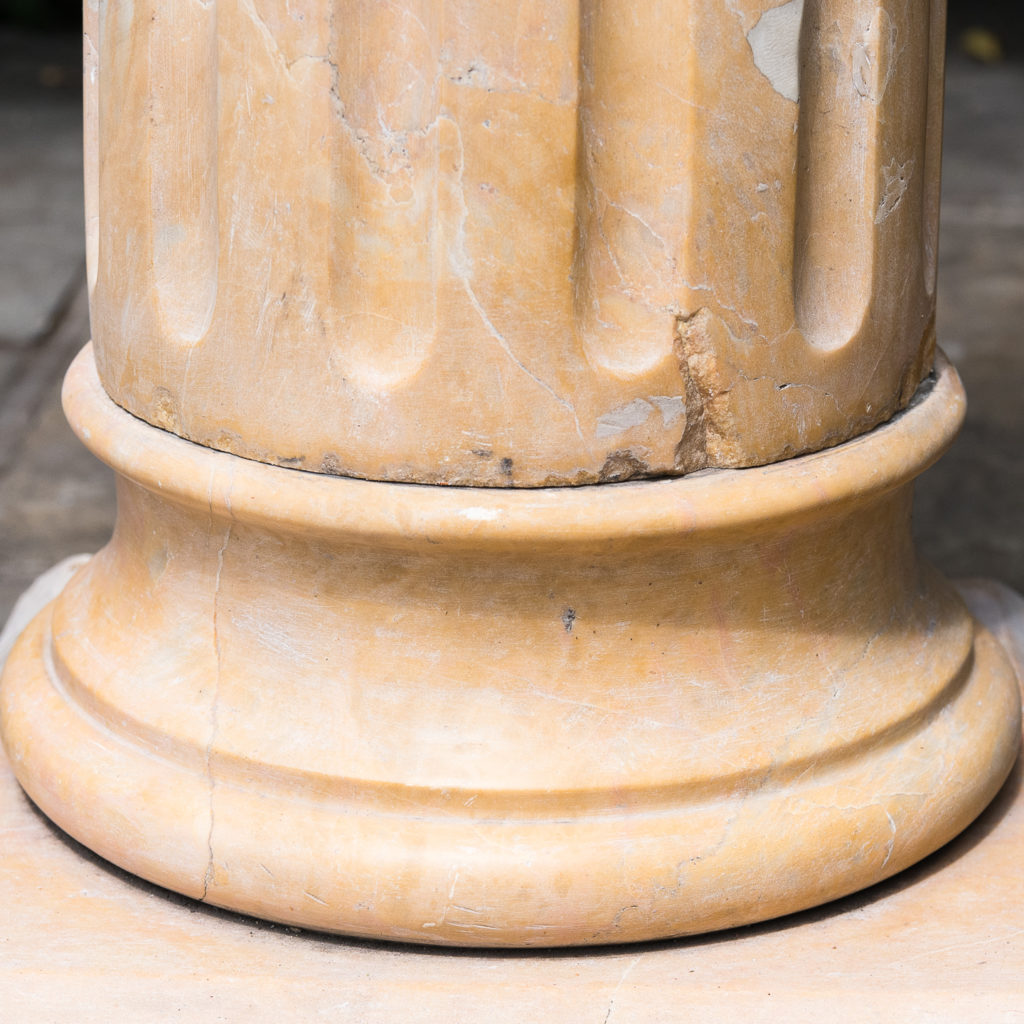 Four Valence yellow marble pedestals, -128954