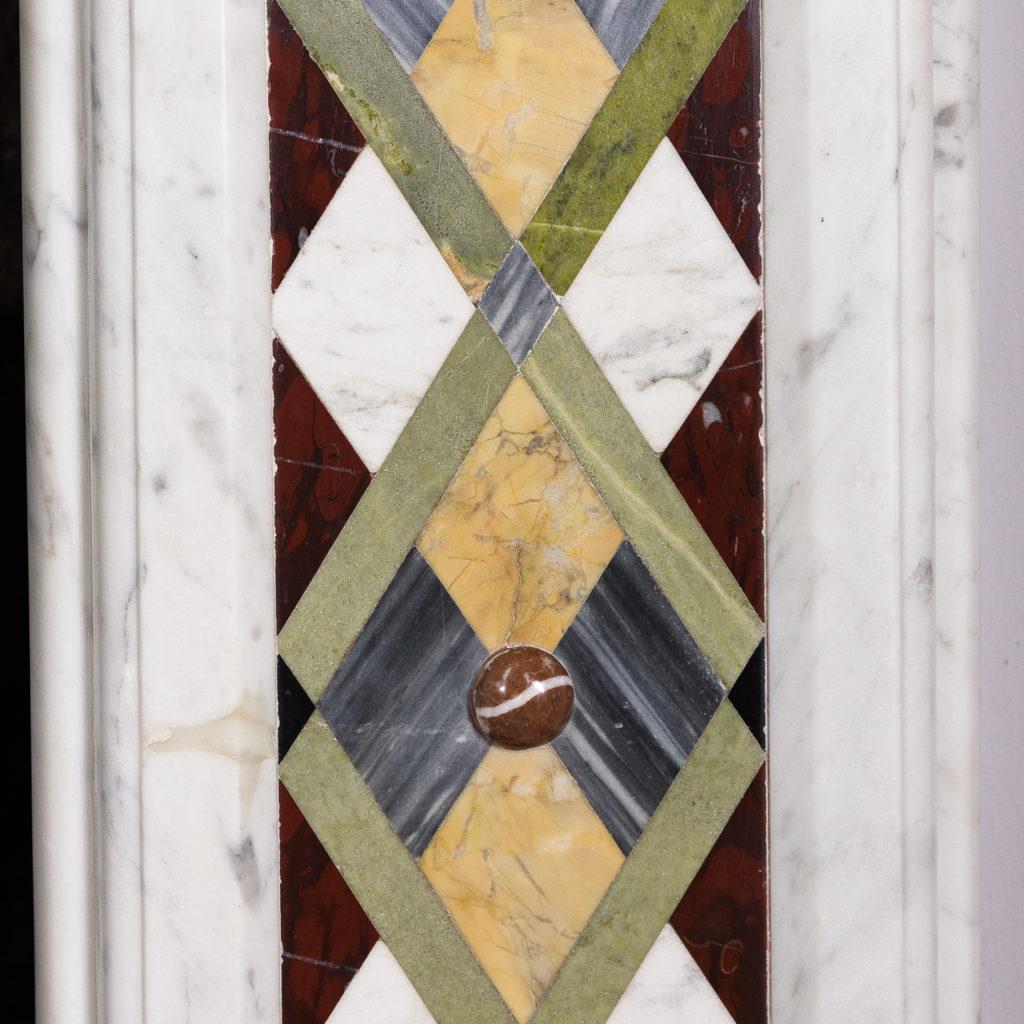 Victorian Arts and Crafts Carrara marble inlaid chimneypiece,-128821