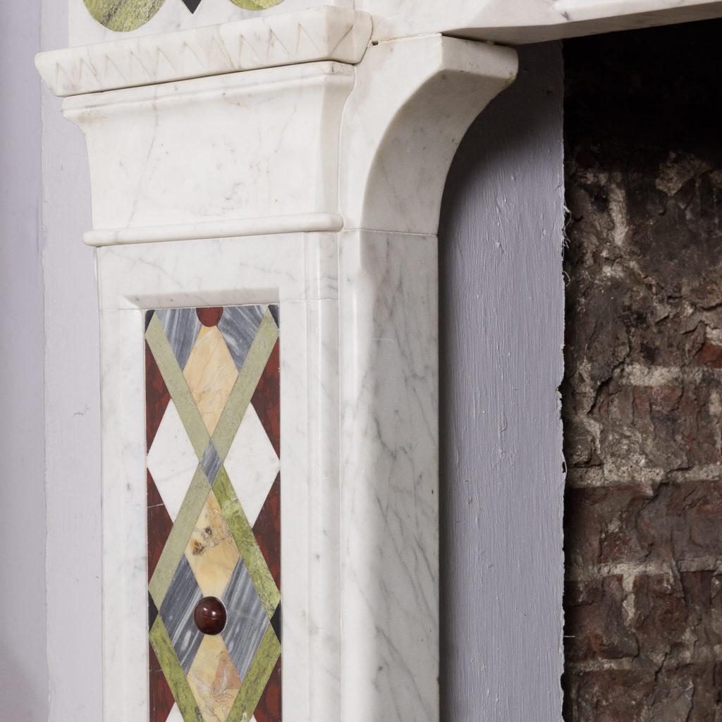 Victorian Arts and Crafts Carrara marble inlaid chimneypiece,-128822
