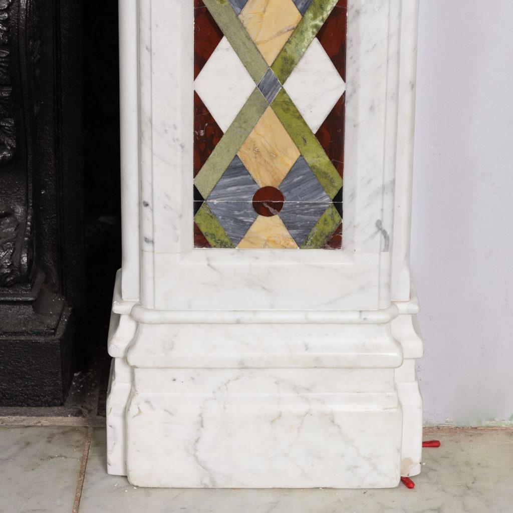 Victorian Arts and Crafts Carrara marble inlaid chimneypiece,-128823