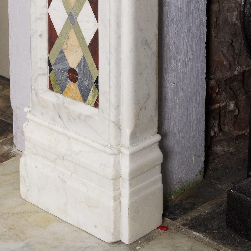 Victorian Arts and Crafts Carrara marble inlaid chimneypiece,-128824