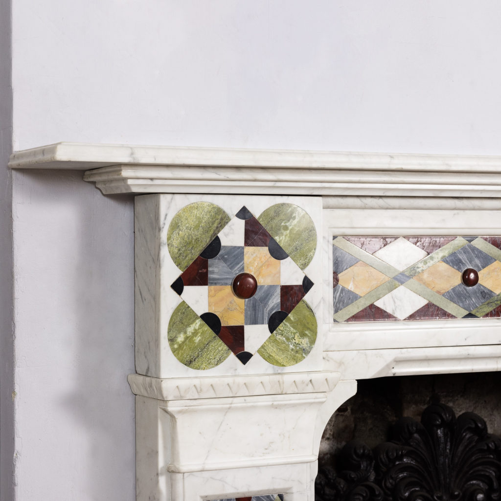 Victorian Arts and Crafts Carrara marble inlaid chimneypiece,-128825