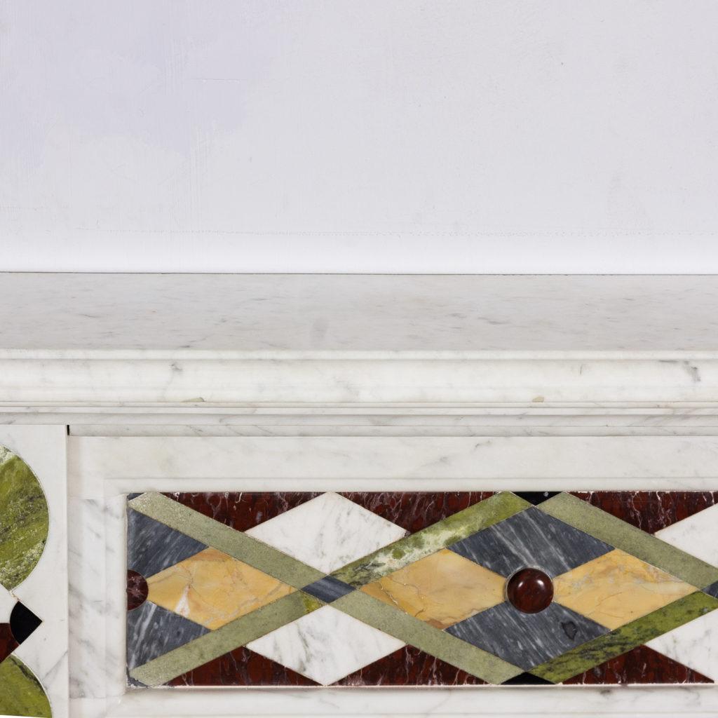 Victorian Arts and Crafts Carrara marble inlaid chimneypiece,-128826