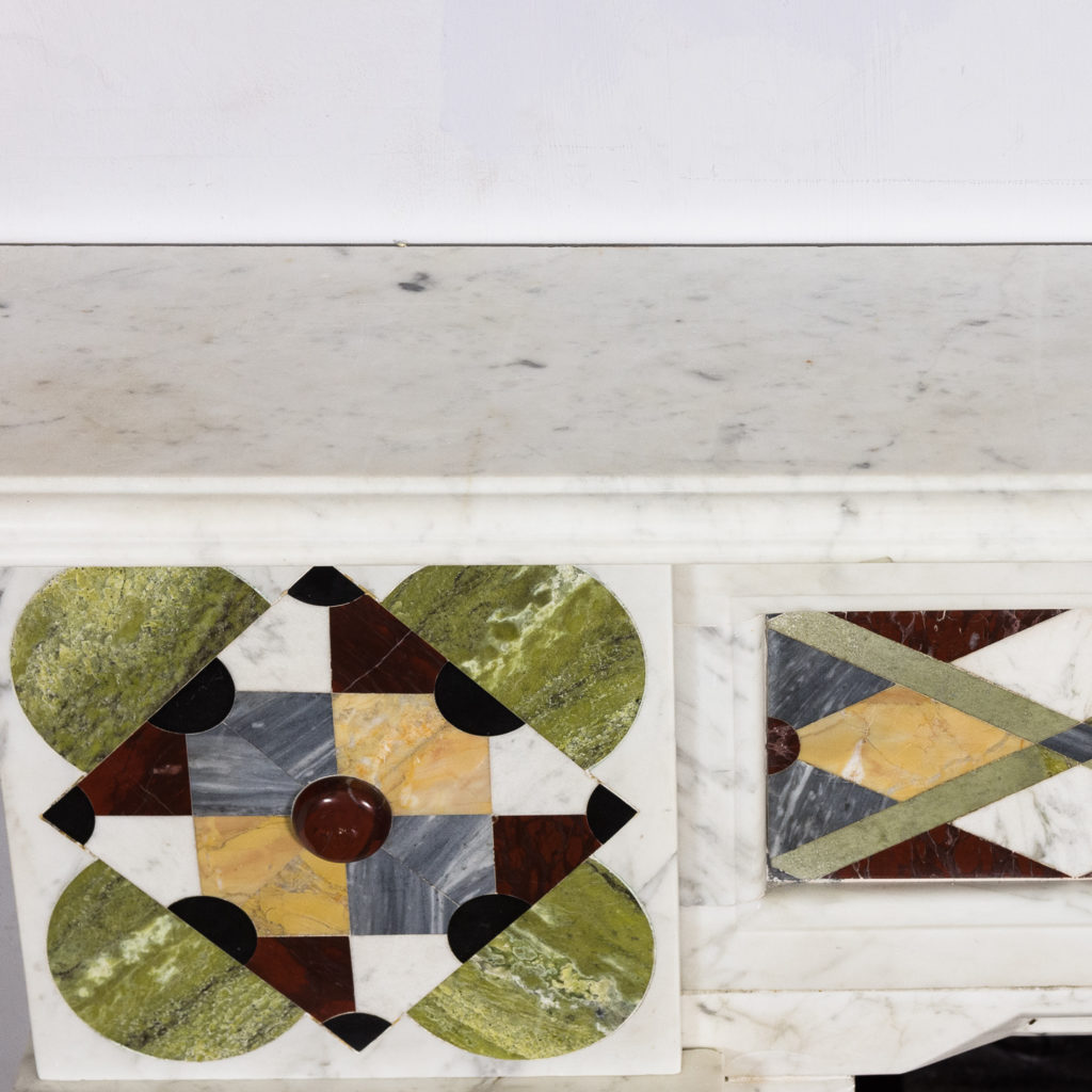 Victorian Arts and Crafts Carrara marble inlaid chimneypiece,-128827