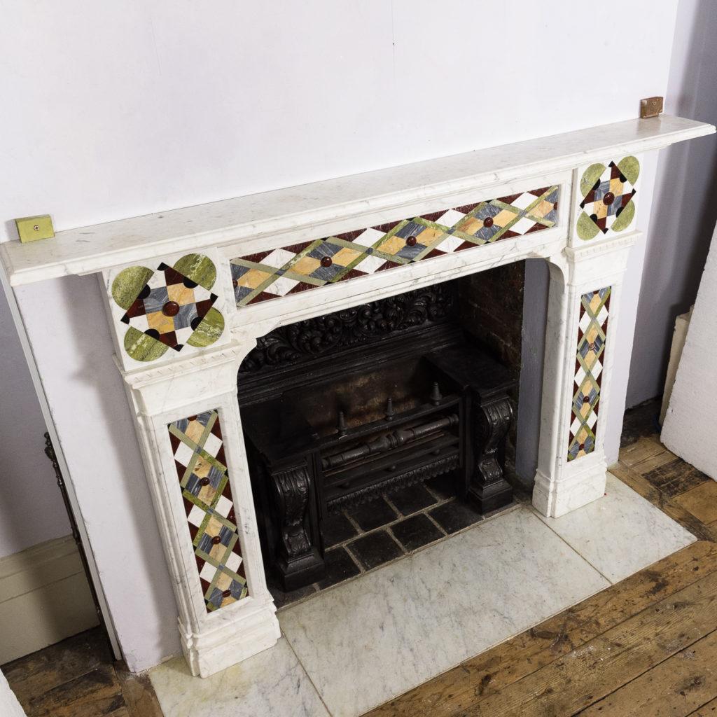 Victorian Arts and Crafts Carrara marble inlaid chimneypiece,-128829