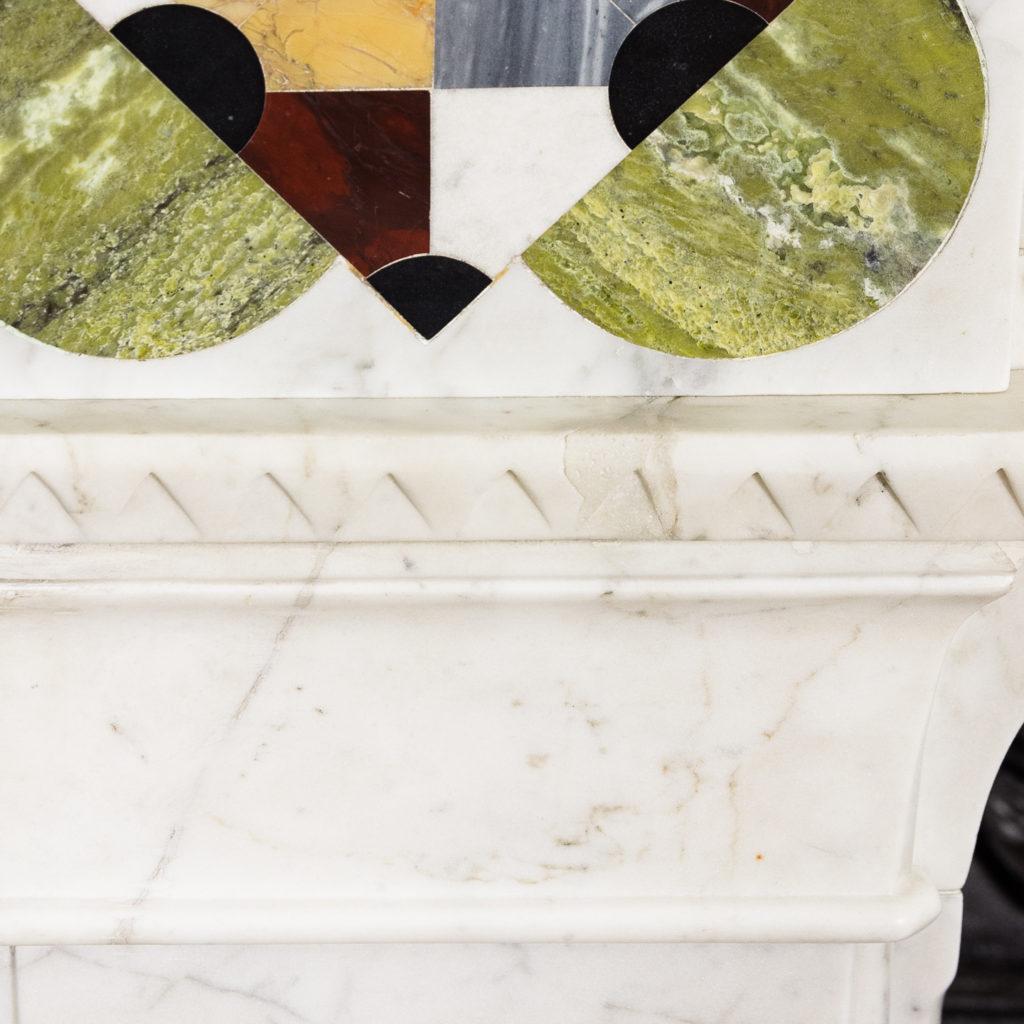 Victorian Arts and Crafts Carrara marble inlaid chimneypiece,-128828